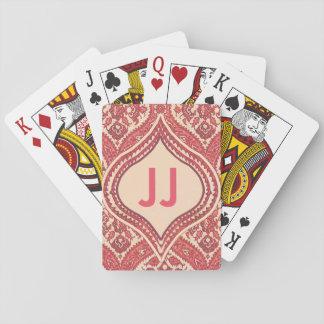 Cubierta del monograma del damasco de tarjetas baraja de cartas