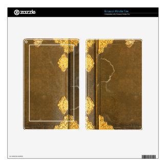 Cubierta del oro y de libro viejo pegatina skin para kindle fire