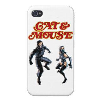 Cubierta del teléfono del gato y del ratón iPhone 4/4S fundas