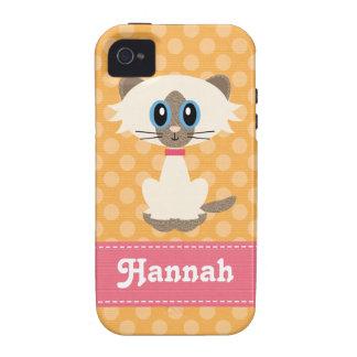 Cubierta dura del gato siamés de la casamata linda iPhone 4 fundas