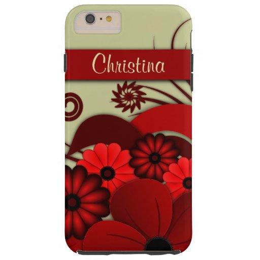 Cubierta dura más del caso del iPhone 6 florales Funda De iPhone 6 Plus Tough