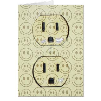 Cubierta feliz del enchufe de las caras tarjeta de felicitación