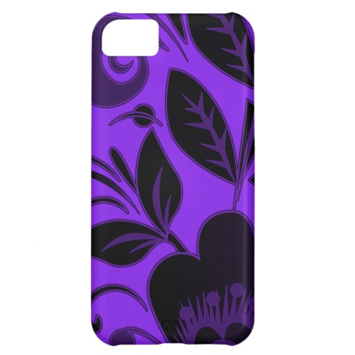 Cubierta floral púrpura y negra moderna del iPhone