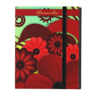 Cubierta floral roja del caso del iPad de Powis