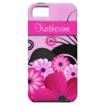 Cubierta floral rosada fucsia del caso del ambient iPhone 5 Case-Mate fundas