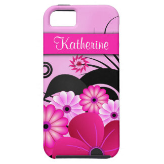 Cubierta floral rosada fucsia del caso del iPhone 5 fundas