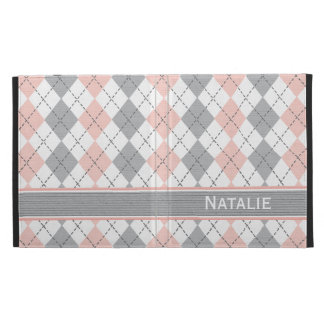 Cubierta gris rosada de la caja del folio del iPad