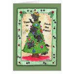 Cubierta las patas - gatos en árbol de navidad felicitación