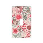 Cubierta ligera floral del Doodle rosado Placa Para Interruptor