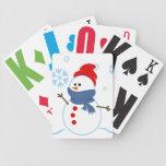 Cubierta linda del muñeco de nieve de tarjetas baraja