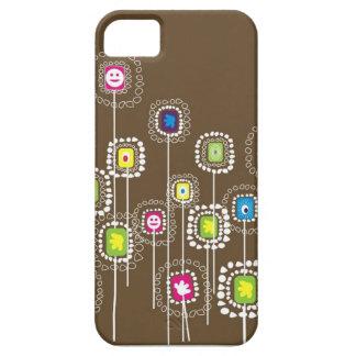 cubierta marrón iphone5 de las flores iPhone 5 fundas