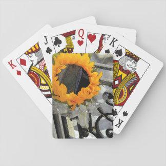 Cubierta parisiense del girasol de tarjetas baraja de cartas
