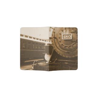 Cubierta pasada de moda del pasaporte del tren porta pasaporte