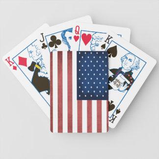 Cubierta patriótica de bandera americana de naipes barajas de cartas