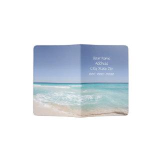 Cubierta personalizada océano azul del pasaporte porta pasaportes