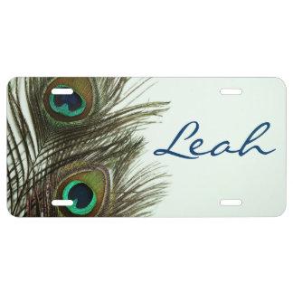 Cubierta personalizada pluma de la placa del pavo  placa de matrícula