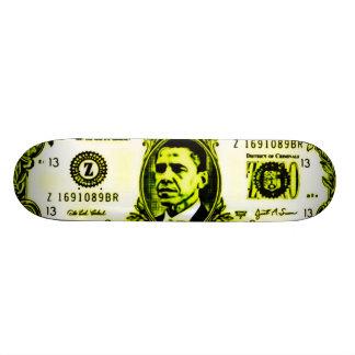 """Cubierta pulida del dinero de Obama Patineta 7 1/4"""""""