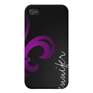 Cubierta púrpura Fluer-de-lis con nombre iPhone 4 Cárcasas