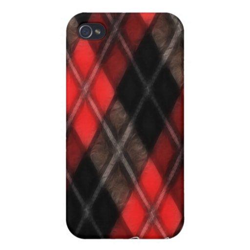 Cubierta roja y negra del fractal iPhone4 de Argyl iPhone 4 Carcasas