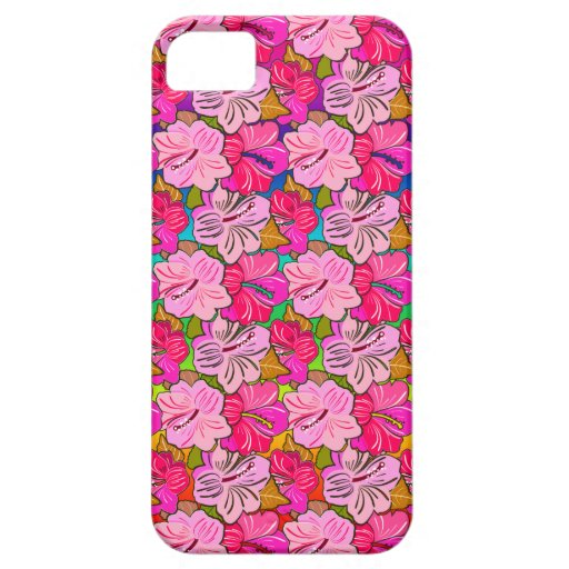 Cubierta rosada del hibisco iPhone 5 carcasas