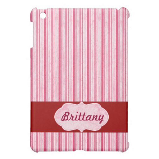 Cubierta rosada personalizada del iPad de la raya