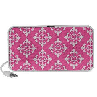 Cubierta rosada y blanca del teléfono del modelo d sistema de altavoz
