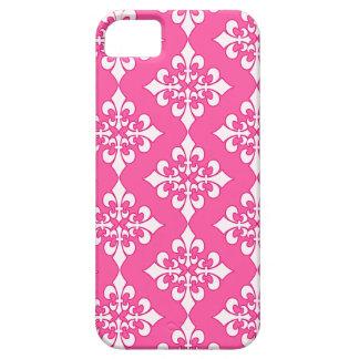 Cubierta rosada y blanca del teléfono del modelo iPhone 5 funda