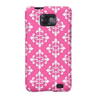 Cubierta rosada y blanca del teléfono del modelo galaxy s2 funda