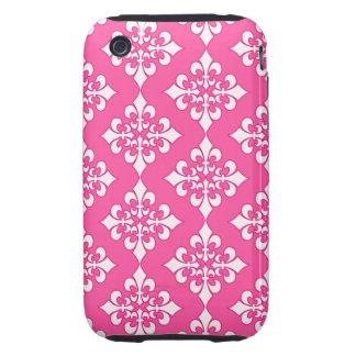 Cubierta rosada y blanca del teléfono del modelo tough iPhone 3 protector