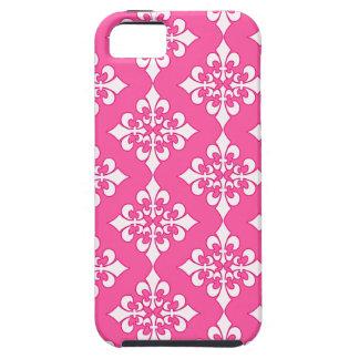 Cubierta rosada y blanca del teléfono del modelo iPhone 5 carcasa