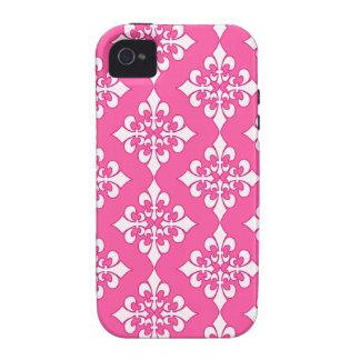 Cubierta rosada y blanca del teléfono del modelo Case-Mate iPhone 4 carcasa