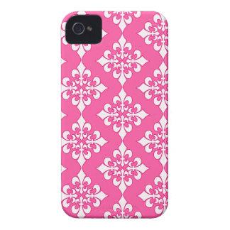 Cubierta rosada y blanca del teléfono del modelo iPhone 4 funda