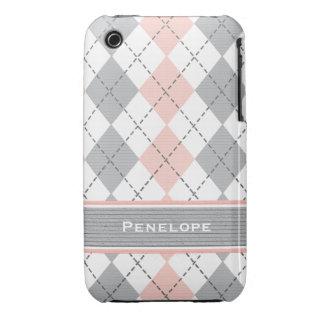 Cubierta rosada y gris del compañero del caso del  iPhone 3 Case-Mate protector