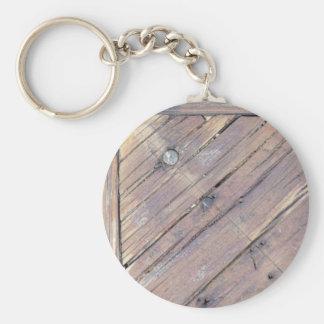 Cubierta texturizada áspera de madera resistida llavero redondo tipo pin