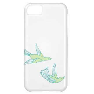 Cubierta verde de IPhone de los pájaros del amor Funda Para iPhone 5C