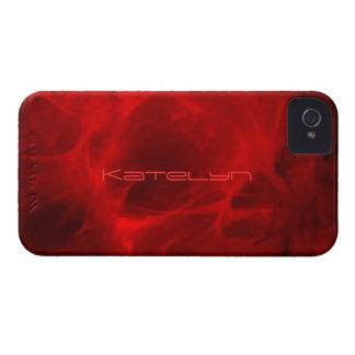 Cubierta veteada rojo del iPhone 4 de Katelyn iPhone 4 Case-Mate Funda