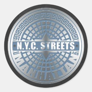 Cubiertas de boca Manhattan Pegatina Redonda