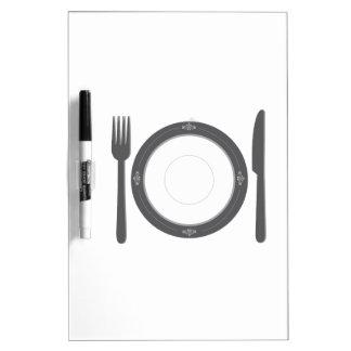 Cubierto de la cena pizarras blancas de calidad