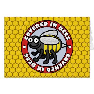 Cubierto en las abejas 2 tarjeta de felicitación