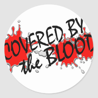 Cubierto por la sangre pegatina redonda