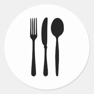 Cubiertos - bifurcación - cuchillo - cuchara pegatina redonda