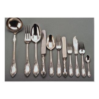 Cubiertos de plata del siglo XIX, Varsovia, Invitación 12,7 X 17,8 Cm