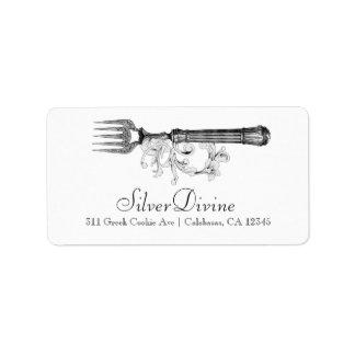 Cubiertos divinos de la plata del vintage de la etiqueta de dirección