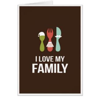 Cubiertos - familia del amor M y de I Tarjeta De Felicitación