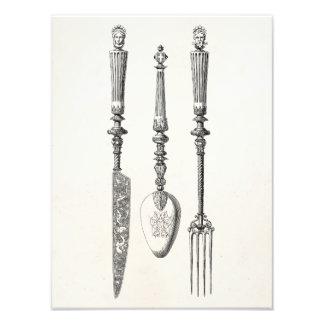 Cubiertos viejos de los cuchillos de la cuchara de cojinete