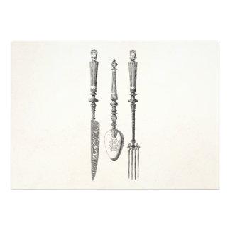 Cubiertos viejos de los cuchillos de la cuchara de invitaciones personales