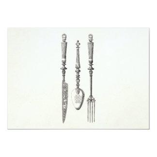 """Cubiertos viejos de los cuchillos de la cuchara de invitación 5"""" x 7"""""""