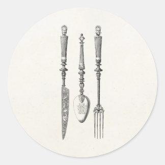 Cubiertos viejos de los cuchillos de la cuchara de pegatina redonda