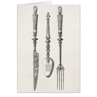 Cubiertos viejos de los cuchillos de la cuchara de tarjeta pequeña