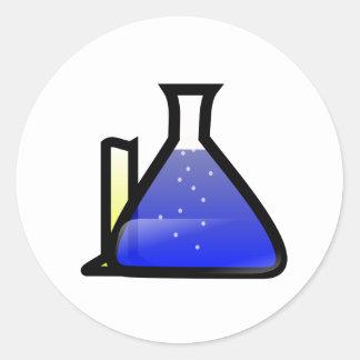 Cubiletes de la química pegatina redonda